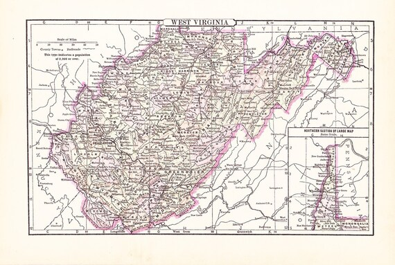 1895 State Map West Virginia - Vintage Antique Map Great for Framing 100 Years Old