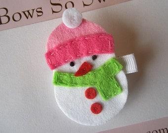 """Snowman Snowgirl """"Snow"""" Christmas Felt Hair Clippie...Girls Hair Bow"""