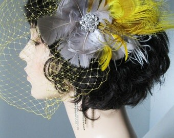 Yellow and Gray Wedding Veil and Fascinator  (Colors can be customized)