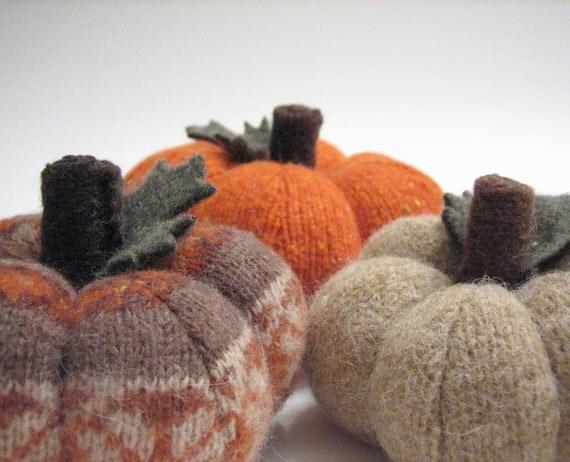 Three Thanksgiving Sweater Pumpkins Handmade From Felted Wool