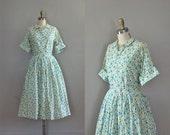 50s dress / 1950s dress /  floral print dress / 50s shirtwaist