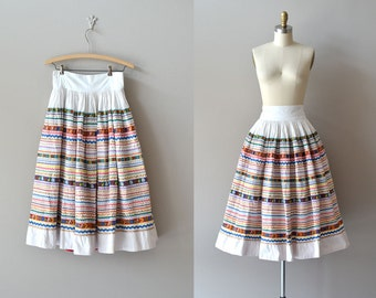 Coyoacan skirt | vintage 1950s skirt | rick rack cotton 50s circle skirt