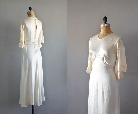 r e s e r v e d...Nascent Silk gown / 1930s wedding dress / 30s dress / bias silk