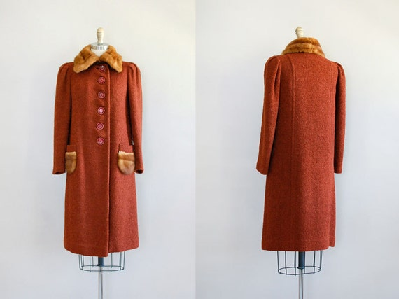 vintage 1930s coat / boucle 30s wool / Hazelhurst Coat