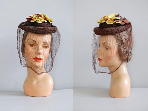 1930s hat / vintage 30s tilt hat / Leafy Straw toy hat