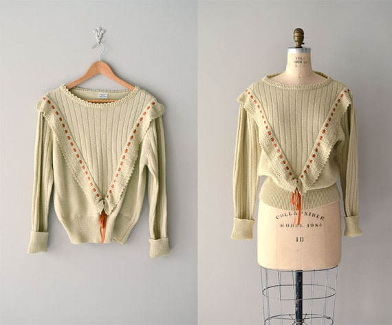 1980s sweater / pointelle sweater / Sweet Lou sweater