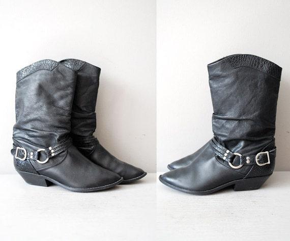 black leather moto boots / biker boots / Tough it Out boot