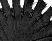 "4""  WHOLESALE Black 500 Zippers YKK number 3 Nylon Coil Skirt and Dress  Color 580 Closed End"