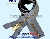 """33"""" Wholesale Extra Heavy Duty Zipper for Jackets & Chaps 33inch-Number 10 BRASS - Separating - Extra Heavy - Chaps By each ( Select Color)"""