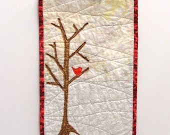 "wall art quilt with red bird- ""solitude"" in gray, red, brown- red bird- serene, tranquil, Ready to ship"