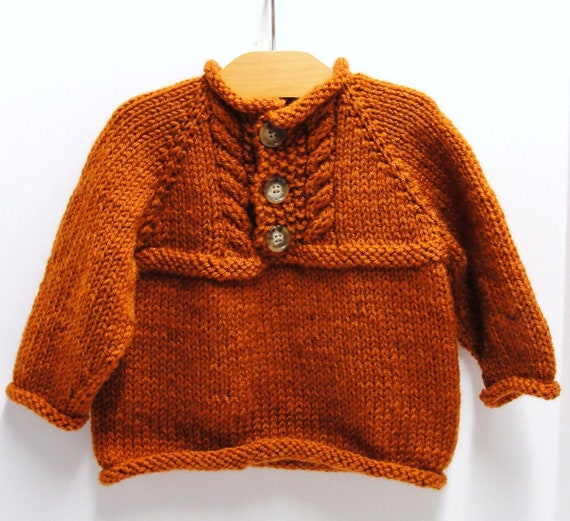 baby sweater- ''Pumpkin Spice'' - pullover, long sleeves with cables 18 month size