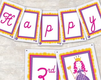 """PRINT & SHIP Princess Birthday Party Pennant Banner (""""Happy 1st Birthday"""") >> personalized and shipped to you 