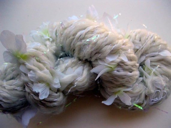 SALE 15% OFF, handspun art yarn, the White City Bouquet
