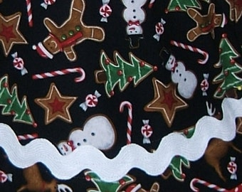 Apron Gingerbread Man Hostess Apron Red White Polka Dot Cell Phone Pocket All Cotton Reversible Ric Rac