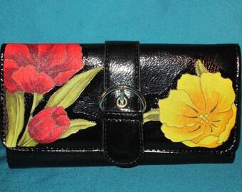 Black floral wallet