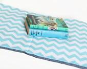 Chevron Nap Mat - Eco Friendly Non-Toxic Toddler Napmat in Turquoise with Organic Denim - Preschool Nap Pad for Modern Kids