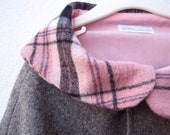 Girls Cape in Pink and Gray with Peter Pan Collar - Fall Winter Boiled Wool Capelet Size 12 months 1T to 3T - Holiday Party Fashion Shrug