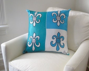 New Orleans Vera Silk PiIllow Sham - Throw Pillow Cover - 1960s Fleur de Lis Silk Handmade into Sofa Cushion - Emerald Aqua Home Decor
