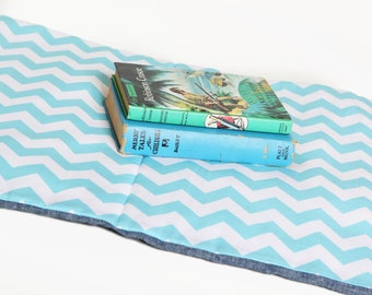 Chevron Nap Mat - Eco Friendly Non-Toxic Toddler Napmat in Turquoise with Organic Denim - Preschool Nap Pad for Modern Kids