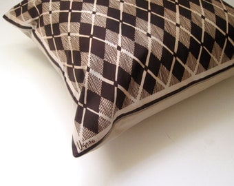 Argyle Vera Pillow Sham - Luxe Throw Pillow Cover in Geometric Brown - Decorative Cushion Handmade with Vintage Vera Silk