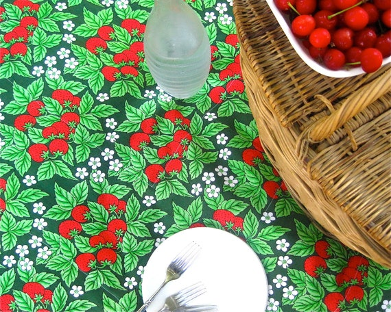Vintage Tampella Picnic Blanket - XL Red Strawberries on Grass Green - Garden Party Outdoors Beach Blanket (Ready To Ship)