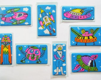 8 Rare Vintage 80s Puffy Space Stickers Lot
