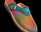 Handmade Leather Sling Back Clogs Shoes - Colorful Rainbow Abstract Design Airbrushed, Custom Made Size 5, 6, 7, 8, 9, 10