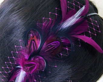 Purple Feather Headband - PLUMETTE - Purple Wine Black Plum Veil Headband