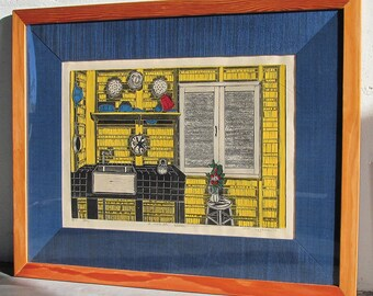A Workable Kitchen, Serigraph and Linoleum print. Signed in pencil by the artist, framed
