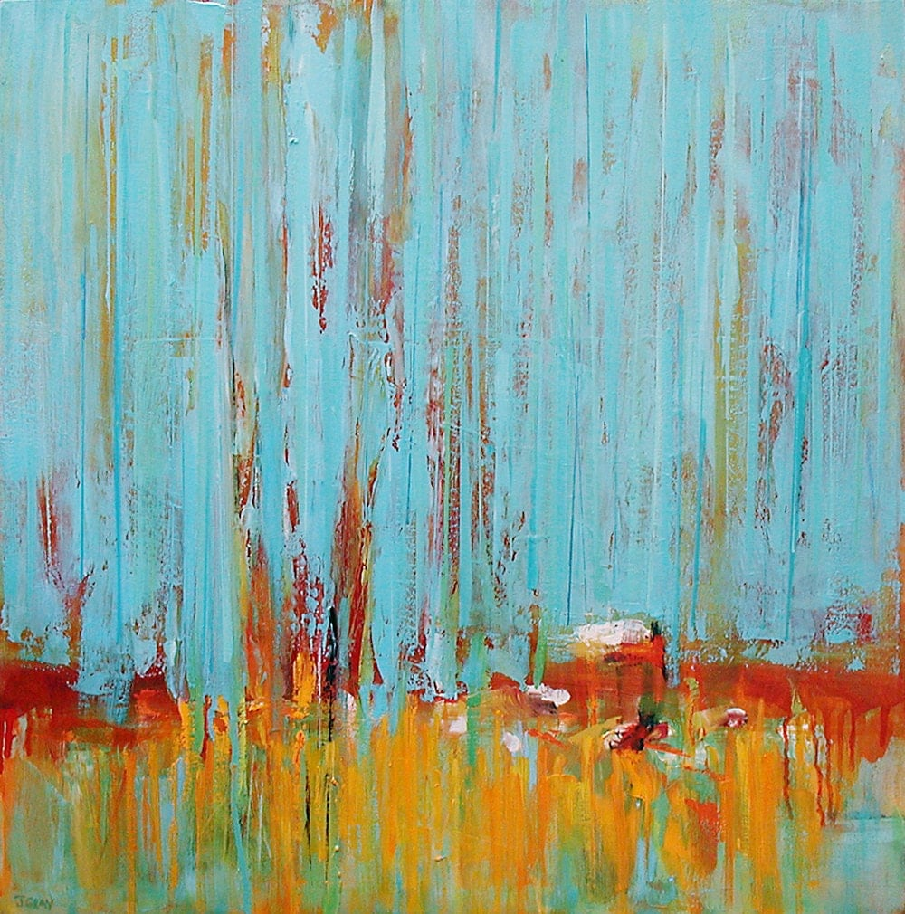 oil painting large original abstract landscape colorful
