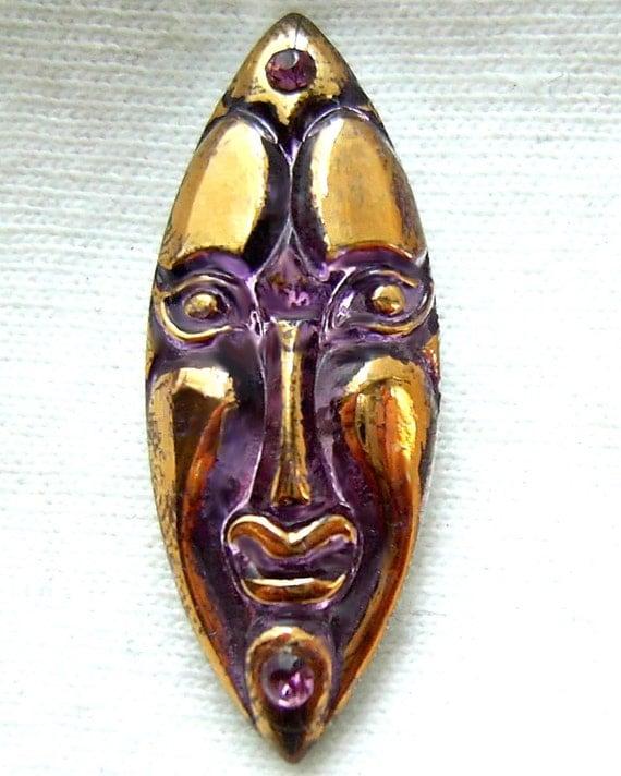 FAB Czech Glass Mask Button - Realistic Purple Mirror Back African Mask Rhinestone Button