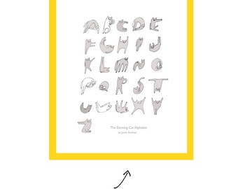 Cat Alphabet- The Dancing Cat- Typography- Cat Print