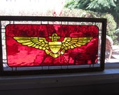 Smaller Version of the  Stained Glass, Navy or Marine Wings with OAK Frame stained to your specifications