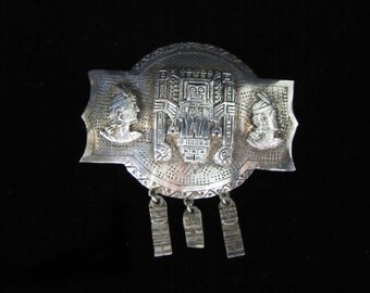 Vintage Silver Peruvian Brooch with Two Faces