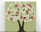 Gift for Girl - Mini Artwork - Tree Painting on Canvas for Pink and Green Girls Room Decor - IN STOCK