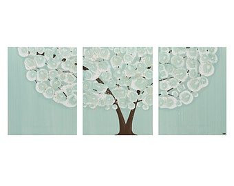 Canvas Triptych Painting of Tree - Large Original Wall Art in Sea Glass Teal and Brown - 50x20