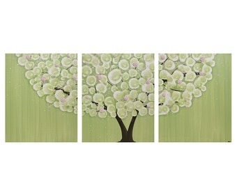 Canvas Wall Art - Tree Artwork for Nursery - Pink and Green Textured Painting Triptych - Large 50x20