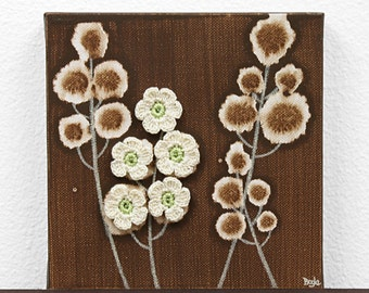Gift for Her - Canvas Art - Original Acrylic Painting - Brown and Green Flower Art - Mini 6x6