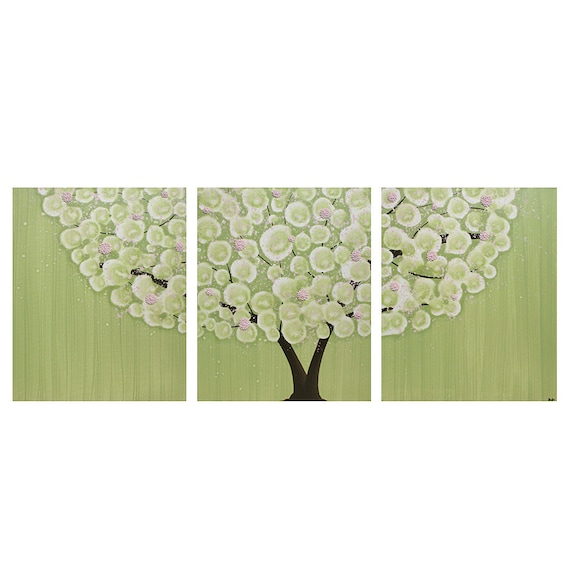 Nursery Wall Art Canvas Tree Artwork - Textured Pink and Green Painting Triptych - Large 50x20