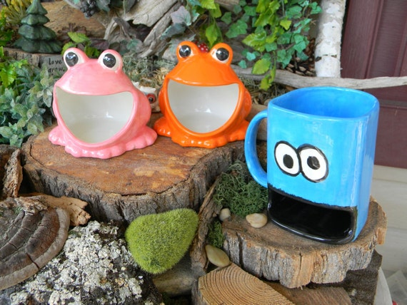 Ceramic Frog Scrubby Sponge Holder Vintage Style Ash Tray Salt Pig Ceramic Glazed  ORANGE Wide Open Mouth