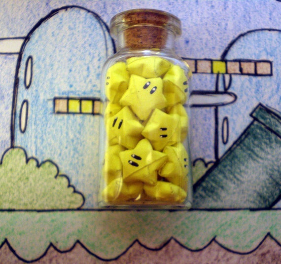 "2"" jar filled with Nintendo stars"
