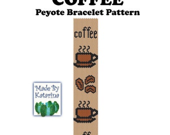 Peyote Pattern - Coffee - INSTANT DOWNLOAD PDF - Peyote Stitch Bracelet Pattern - Coffe Lover Bracelet Pattern - Coffee Pattern
