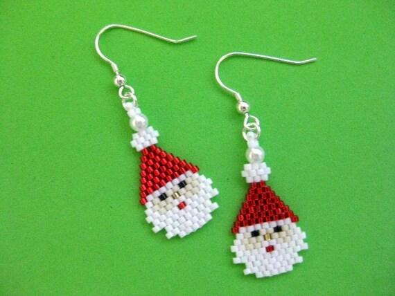 Jolly Old Saint Nicholas Beaded Santa Earrings by FoxyMomm…   Flickr