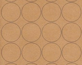 """6 SHEETS - 120 2"""" Blank Round Circle BROWN KRAFT Stickers for Inkjet & Laser Printers. Size: 8-1/2""""x11"""" Standard Sheets"""