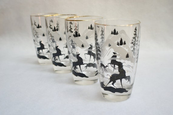 Deer in The Forest Mid- Century Modern- 4 Vintage Glasses-Christmas Holiday Decor