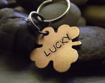 Lucky Keychain or Pet tag, four leaf clover keychain, Anniversary gift, hand stamped pet tag, custom pet tag, personalized pet tag