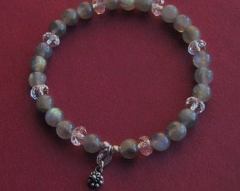Beaded Labradorite, Sterling Silver and Crystal Bracelet