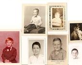 7 vintage photo lot Little Boys School photos Bowtie Child