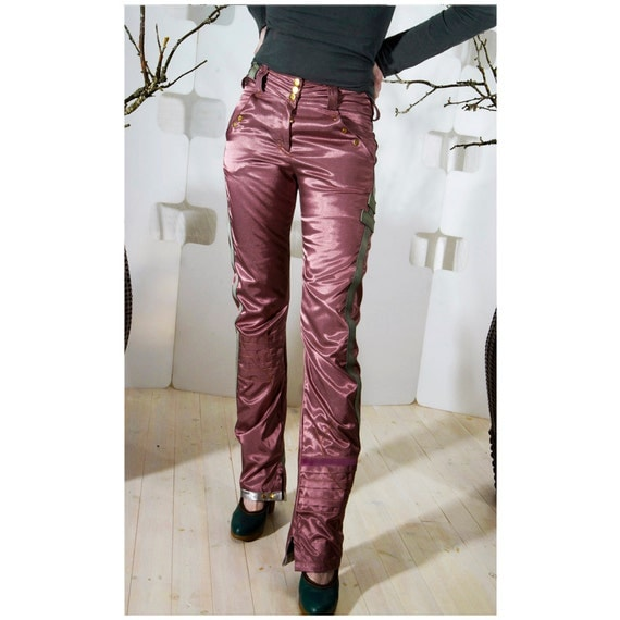 SALE 50% off Satin Jeans Sexy Rose red handmade casual indie couture Fashion