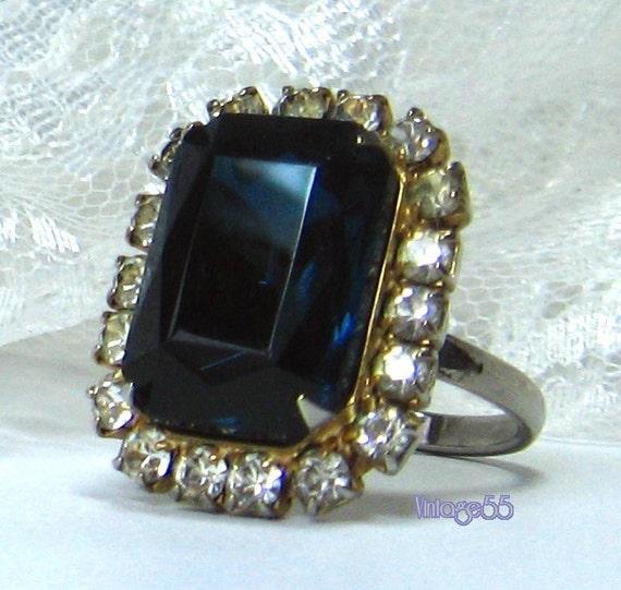 Vintage Ring Rhinestone Sapphire Blue Adjustable  size 8 1/4